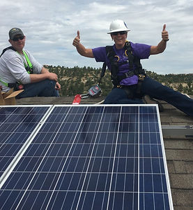 Kevin of Aim High Solar teaching how to install solar at the UCCS Sustainability House