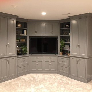 large grey bedroom entertainment center.