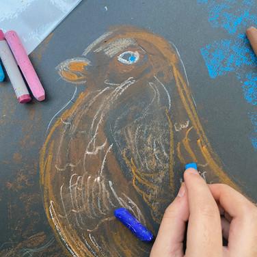 Birds oil pastel