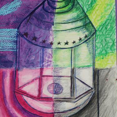Mixed media lanterns Yr 8 & 9