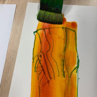 Van Shoe oil pastel and ink drawings