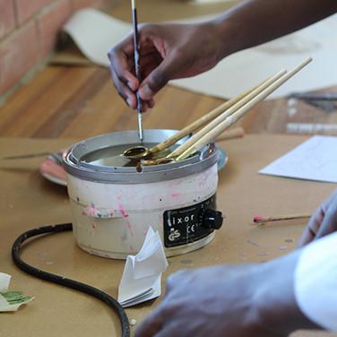 Batik wax pots