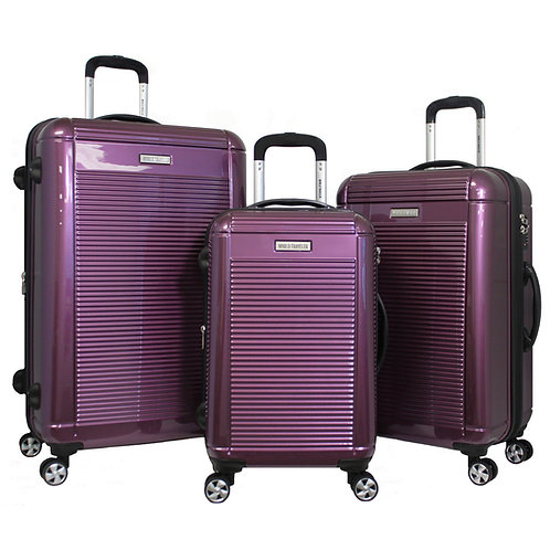 World Traveler Regal 3-piece Hardside Lightweight Spinner Luggage Set - Purple