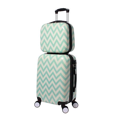 World Traveler Chevron 2-Piece Hardside Carry-on Spinner Luggage Set - Blue
