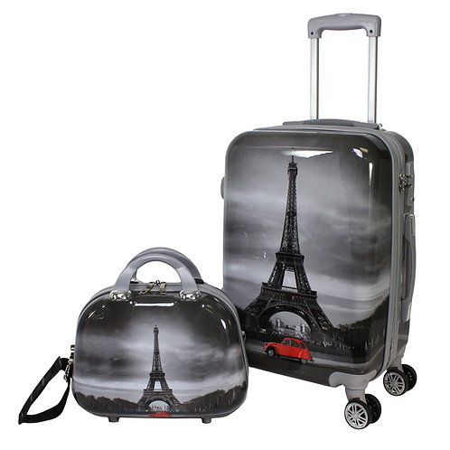 World Traveler Destination 2-Piece Carry-on Hardside Spinner Luggage Set - Paris