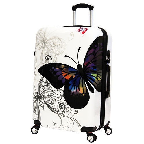World Traveler Butterfly Hardside 29-Inch Expandable Spinner Luggage Suitcase