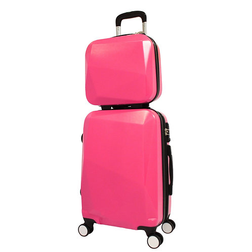 World Traveler Diamond 2-Piece Carry-on Spinner Luggage Set - Pink