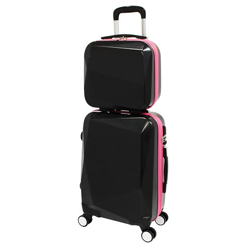 World Traveler Diamond Two-Tone 2-Piece Carry-on Spinner Luggage Set -Black/Pink