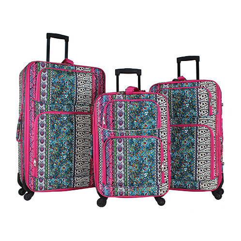 World Traveler 3-Piece Rolling Expandable Spinner - Bohemian