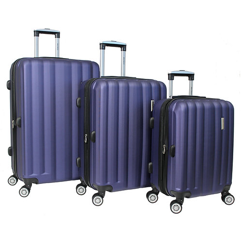 World Traveler Adventure 3-piece Hardside Spinner Luggage Set - Navy