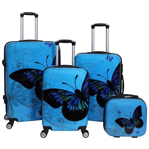 World Traveler Butterfly 4-Piece Hardside Spinner Luggage Set - Light Blue