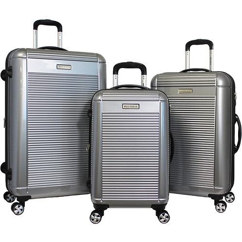 World Traveler Regal 3-piece Hardside Lightweight Spinner Luggage Set - Silver