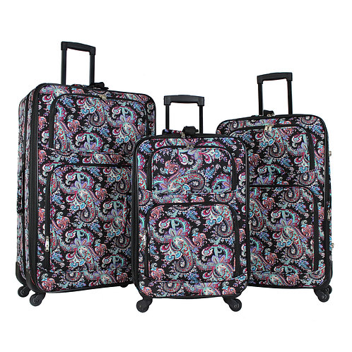 World Traveler 3-Piece Rolling Expandable Spinner - Paisley