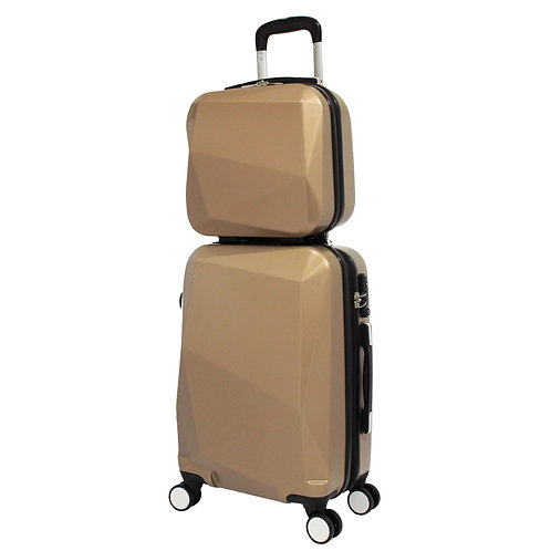 World Traveler Diamond 2-Piece Carry-on Spinner Luggage Set - Champagne