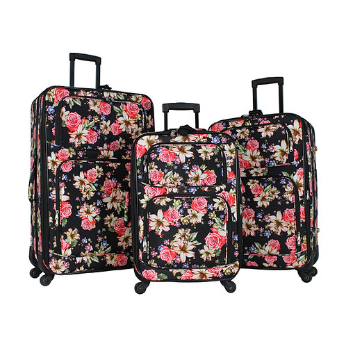 World Traveler 3-Piece Rolling Expandable Spinner - Rose Lily