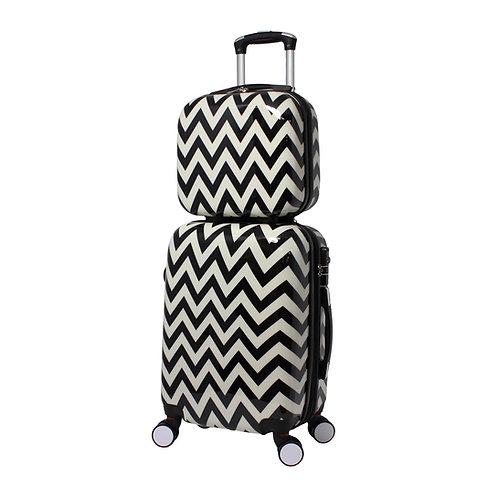 World Traveler Chevron 2-Piece Hardside Carry-on Spinner Luggage Set - Black