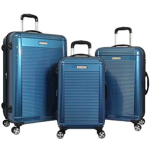 World Traveler Regal 3-piece Hardside Lightweight Spinner Luggage Set - Blue