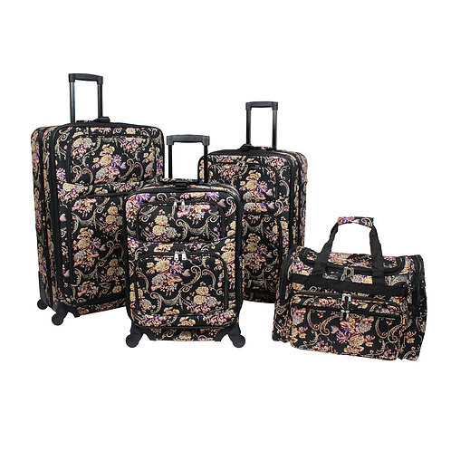 World Traveler Classic Floral 4-piece Rolling Expandable Spinner Luggage Set
