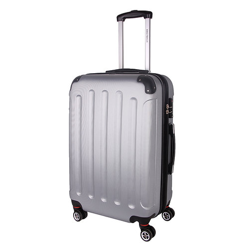 World Traveler Milan Collection Carry-On Hardside Spinner Luggage Set - Silver