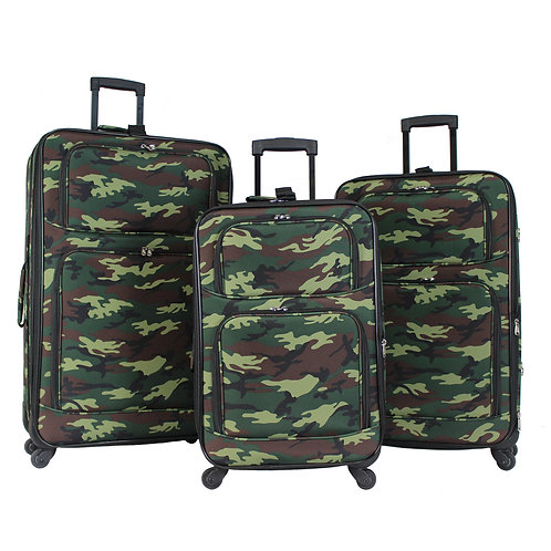 World Traveler 3-Piece Rolling Expandable Spinner - Green Camouflage