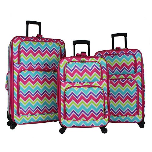 World Traveler 3-Piece Rolling Expandable Spinner - Pink Trim Chevron Multi