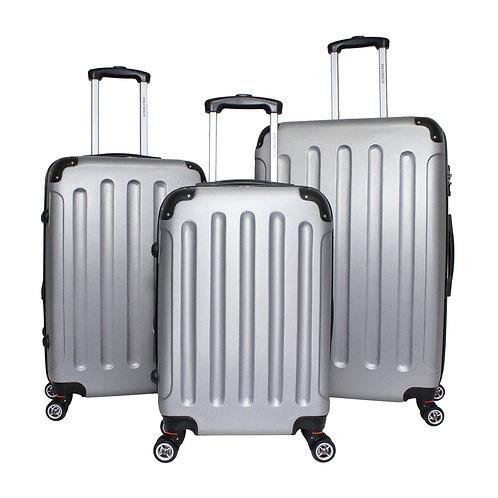 World Traveler Milan Collection 3-piece Hardside Spinner Luggage Set -Silver