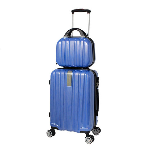 World Traveler Monaco 2-Piece Expandable Carry-On Spinner Luggage Set - Blue