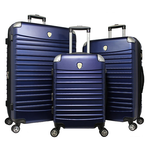 World Traveler Expedition 3-piece Hardside Spinner Luggage Set - Navy