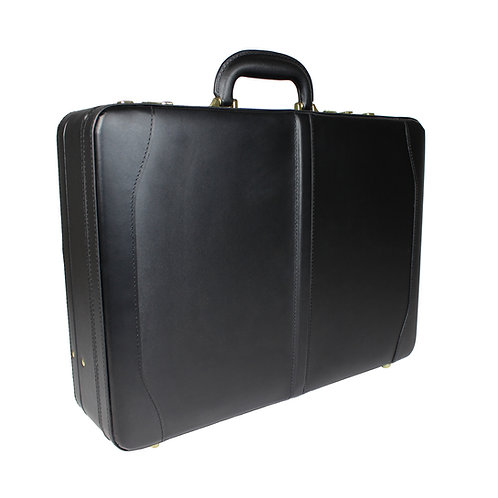 World Traveler Avenues Executive Leather Expandable Attache Briefcase