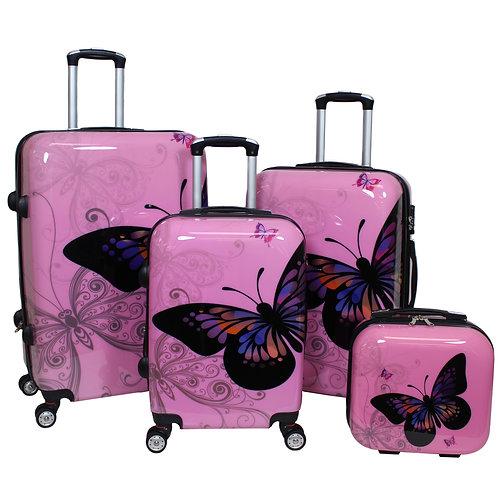 World Traveler Butterfly 4-Piece Hardside Spinner Luggage Set - Light Pink