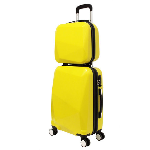World Traveler Diamond 2-Piece Carry-on Spinner Luggage Set - Yellow