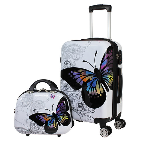 World Traveler Butterfly 2-Piece Carry-on Spinner Luggage Set