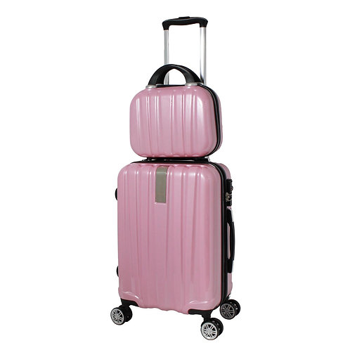 World Traveler Monaco 2-Piece Expandable Carry-On Spinner Luggage Set - Pink
