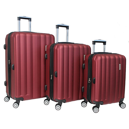 World Traveler Adventure 3-piece Hardside Spinner Luggage Set - Burgundy