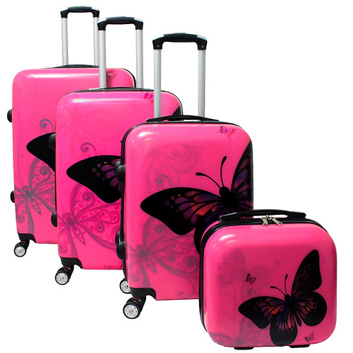 World Traveler 4-Piece Hardside Upright Spinner Luggage Set - Pink