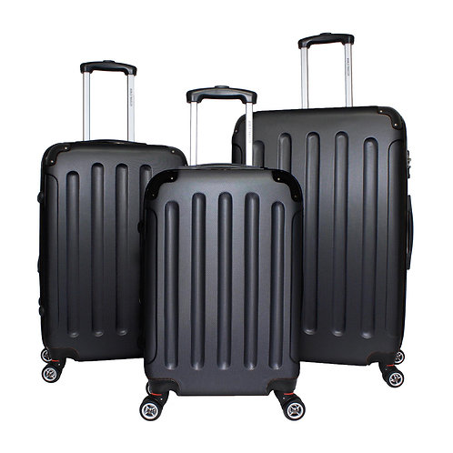 World Traveler Milan Collection 3-piece Hardside Spinner Luggage Set - Black