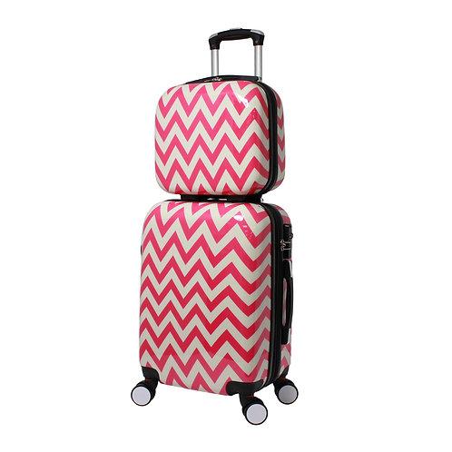 World Traveler Chevron 2-Piece Hardside Carry-on Spinner Luggage Set - Pink