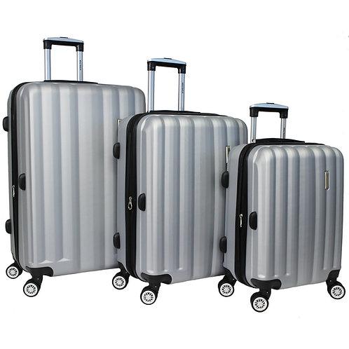 World Traveler Adventure 3-piece Hardside Spinner Luggage Set - Silver