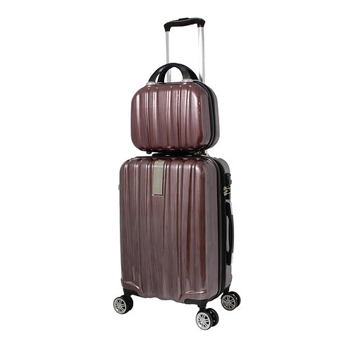 World Traveler Monaco 2-Piece Expandable Carry-On Spinner Luggage Set - Burgundy
