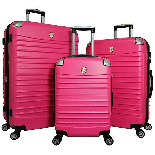 World Traveler Expedition 3-piece Hardside Spinner Luggage Set - Pink