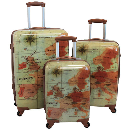 World Traveler Euro 3-piece Hardside Spinner Luggage Set