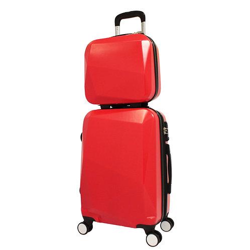 World Traveler Diamond 2-Piece Carry-on Spinner Luggage Set - Red
