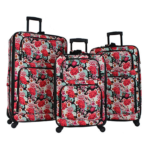 World Traveler 3-Piece Rolling Expandable Spinner - Flowers