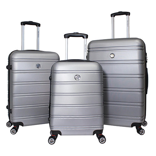 World Traveler Montreal 3-piece Expandable Hardside Spinner Luggage Set - Silver