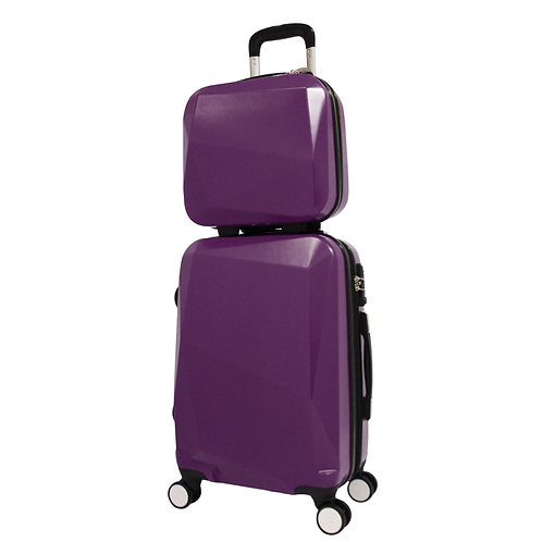 World Traveler Diamond 2-Piece Carry-on Spinner Luggage Set - Purple