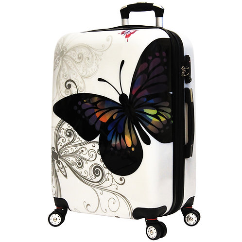 World Traveler Butterfly Hardside 25-Inch Expandable Spinner Luggage Suitcase