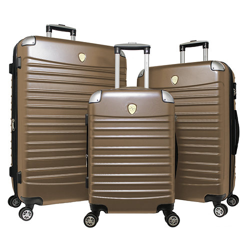 World Traveler Expedition 3-piece Hardside Spinner Luggage Set - Champagne