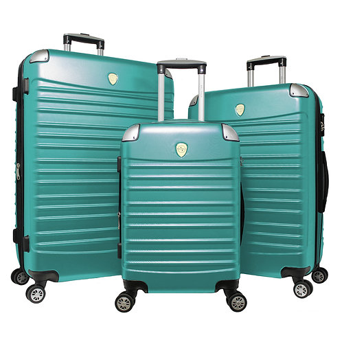 World Traveler Expedition 3-piece Hardside Spinner Luggage Set - Green