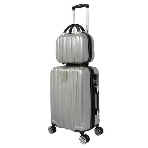 World Traveler Monaco 2-Piece Expandable Carry-On Spinner Luggage Set - Silver