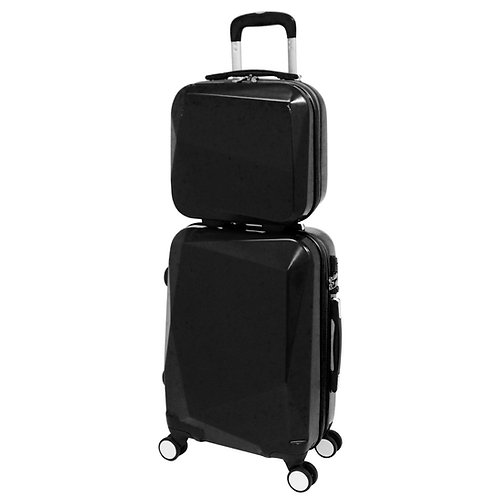 World Traveler Diamond 2-Piece Carry-on Spinner Luggage Set - Black